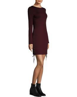 Eyelet Front-zipper Dress