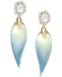 Lucite, Moonstone & Crystal Petal Drop Earrings