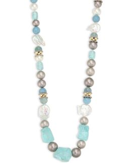 Elements Multi-bead, Sea Glass & Pearl Long Necklace/38