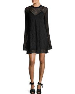 Lace Stripe Bell Sleeve Flared Dress
