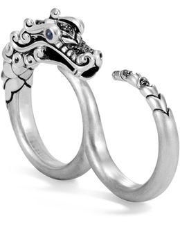 Legends Naga Blue Sapphire & Brushed Silver Two-finger Ring