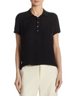 Solid Silk Polo Shirt
