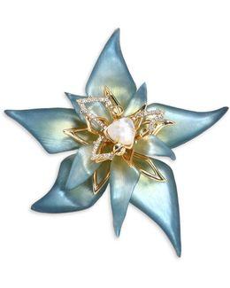 Crystal & Lucite Petal Brooch