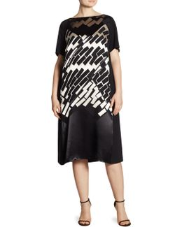 Main Line Geometric Panel Shift Dress