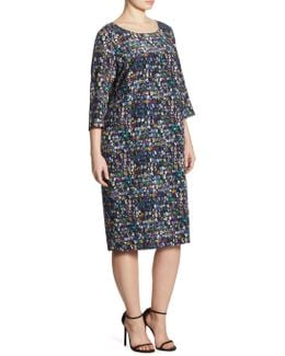Main Line Dotto Print Silk Sheath Dress