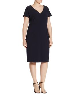Decade Crepe Virgin Wool V-neck Dress
