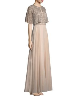 Beaded A-line Gown And Cape Set