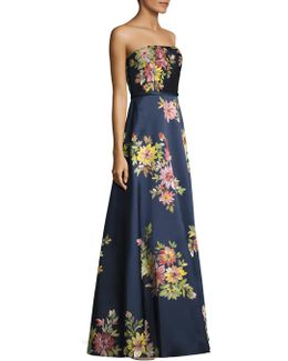 Strapless Floral-painted Gown