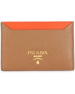Pebble Leather Two-tone Credit Card Holder