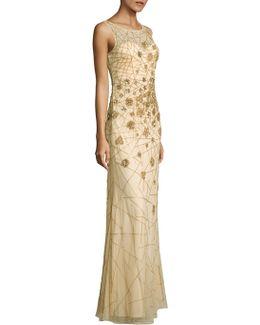 Embellished Sleeveless Mesh Gown