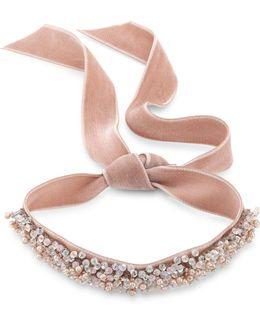 Monarch Bardot Faux-pearl Velvet Wrap Choker