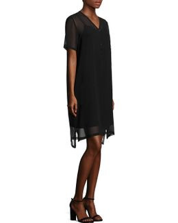 V-neck Short Sleeve Silk Dress
