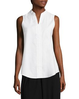 Collared Sleeveless Poplin Tunic