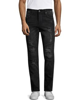 Distressed Straight-fit Jeans