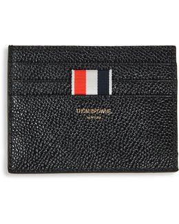Pebble-grain Leather Card Holder