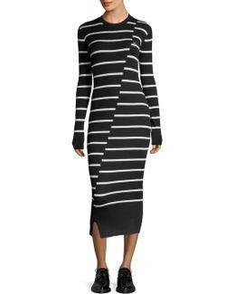Distort Striped Crewneck Dress