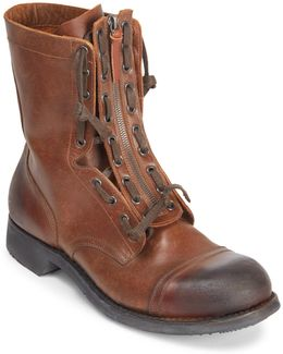 Zip Front Leather Boots