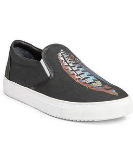 Genek Feather Lauren Print Slip-on Sneakers
