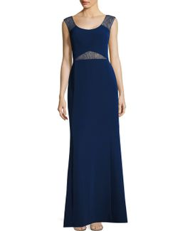 Lace Insets Cutout Gown