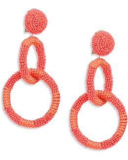 Beaded Double Hoop Clip-on Earrings