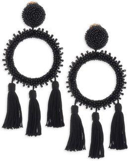 Large Beaded Circle Tassel Clip-on Earrings