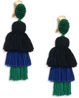 Long Silk Tiered Tassel Earrings