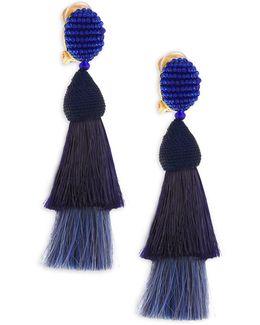 Beaded Horse Hair Tassel Clip-on Earrings