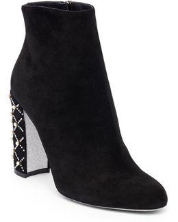 Studded Heel Leather Booties