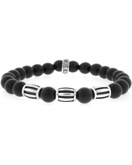 Onyx Sterling Silver Three Barrel Beaded Bracelet