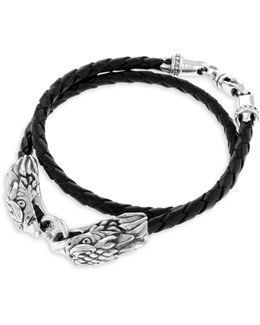 Sterling Silver Leather Double Eagle Braided Bracelet