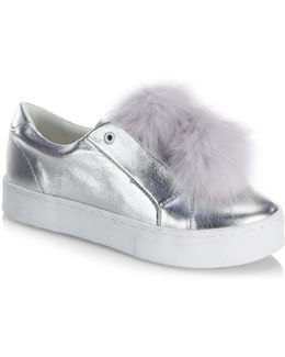 Leya Metallic Leather Faux Fur Pom Pom Sneakers