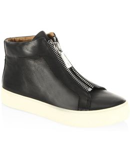 Lena Zip-front Leather Sneakers