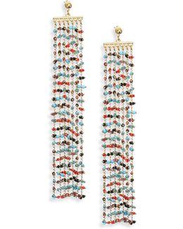 Emmy Beaded Chain Fringe Earrings