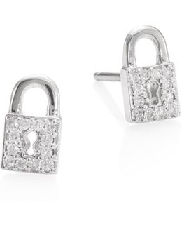 Lock Diamond Stud Earrings