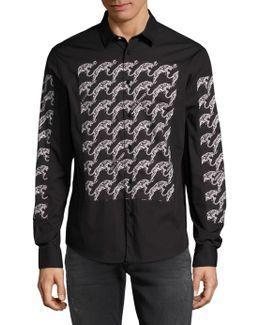 Spread Collar Graphic Shirt