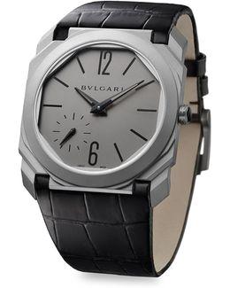 Octo Finissimo Titanium Alligator Leather Strap Watch