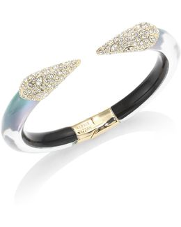 Lucite Crystal-encrusted Pyramid Bangle