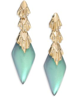 Lucite Crystal Studded Pleated Dangling Drop Earrings
