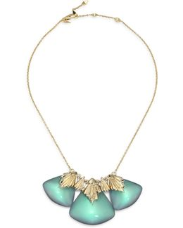 Lucite Crystal Studded Pleated Bib Necklace
