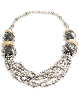 Lucite Crystal-encrusted Sculptural Multi-strand Pearl Necklace