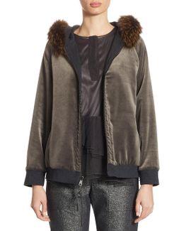 Reversible Fox Fur & Velvet Jacket