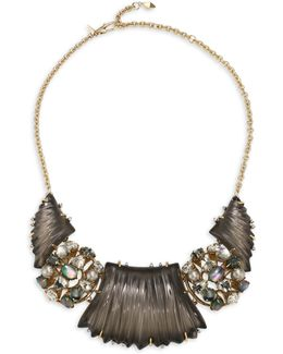 Lucite Stone Cluster Bib Necklace