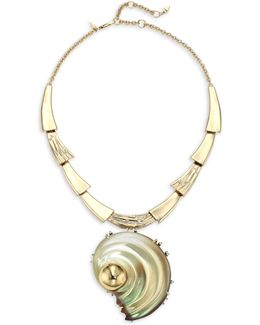 Lucite Crystal-studded Sculptural Shell Pendant Necklace/convertible Pin