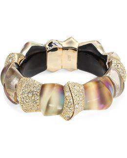 Lucite Crystal-encrusted Sculptural Hinge Bracelet