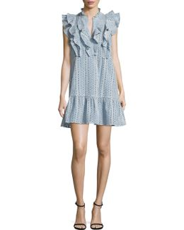 Eyelet Ruffled Cotton Dress