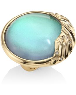 Lucite Crystal-studded Sculptural Sphere Cocktail Ring