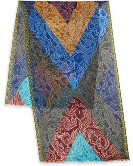 Multicolor Frayed Cashmere Scarf