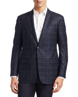 Slim Fit Windowpane Wool Blazer