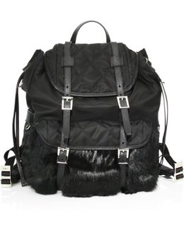 Rabbit Fur & Nylon Backpack