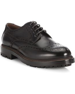 Lace-up Wingtip Leather Oxfords